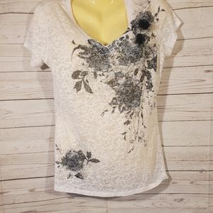 Maurices Semi Sheer White Short Sleeve Top